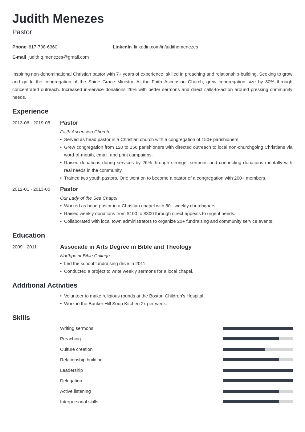 pastor resume example template minimo