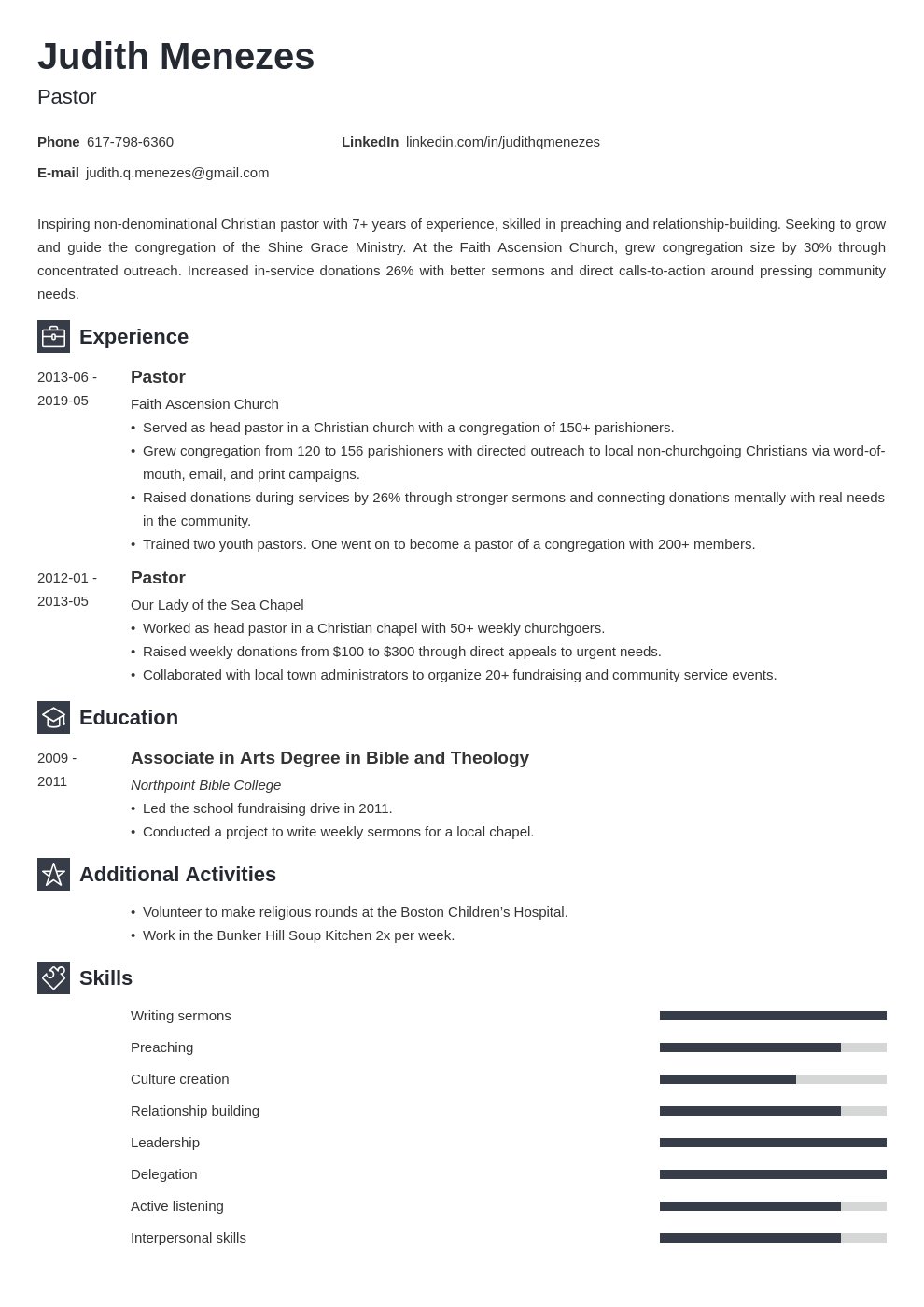 pastor resume example template newcast