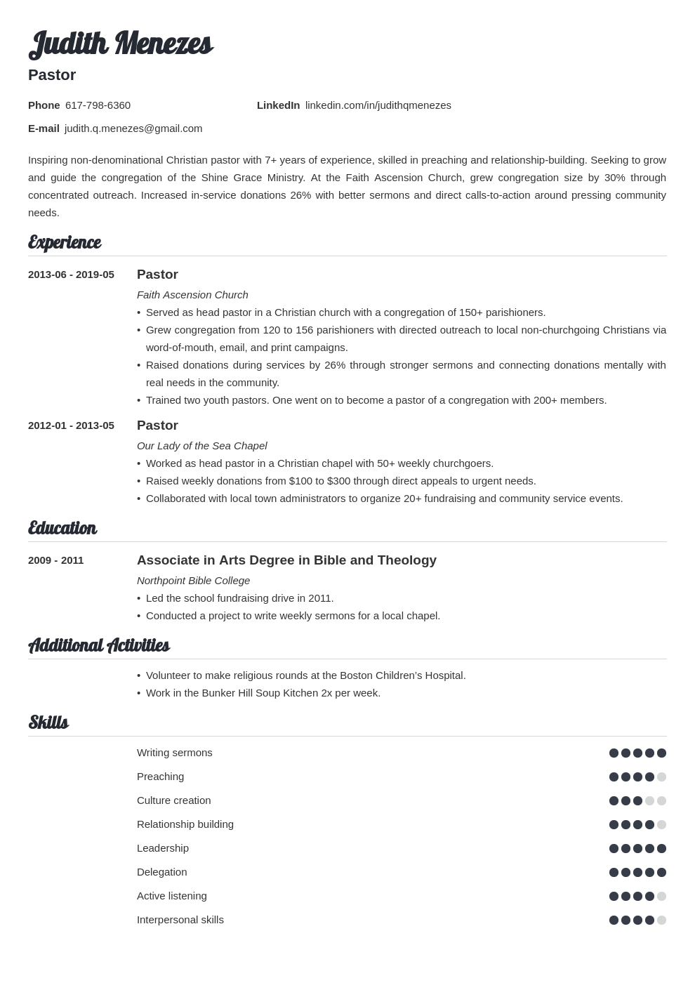 pastor resume example template valera