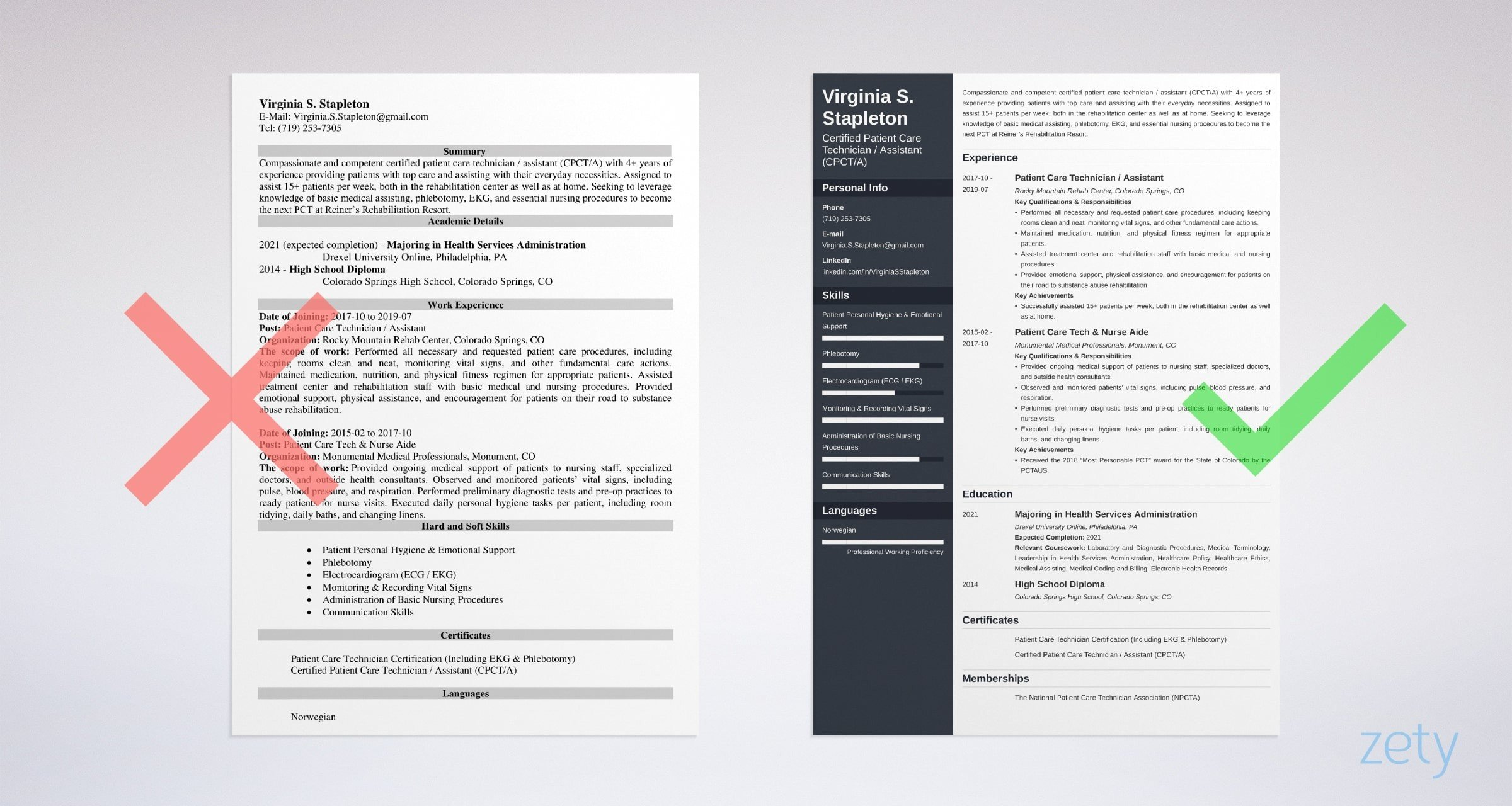 patient care technician resume templates