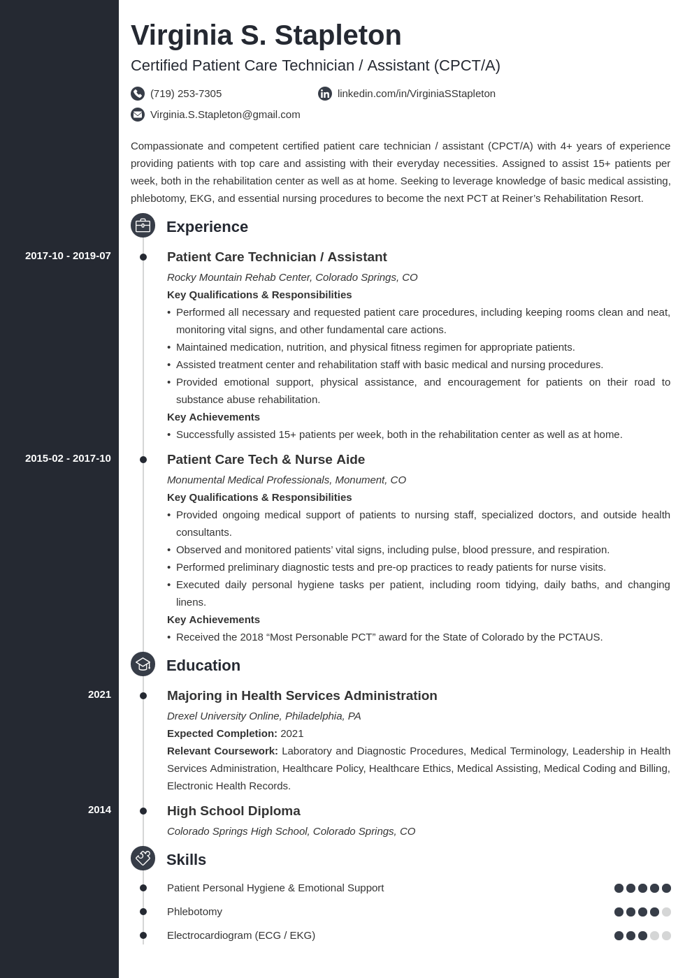 patient care technician resume example template concept