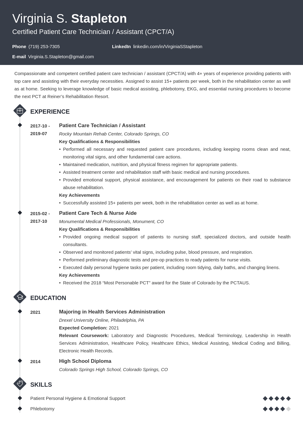 patient care technician  pct  resume sample  u0026 skills