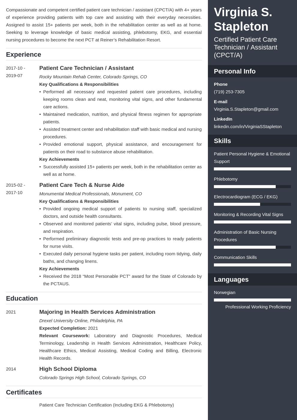 patient care technician resume example template enfold