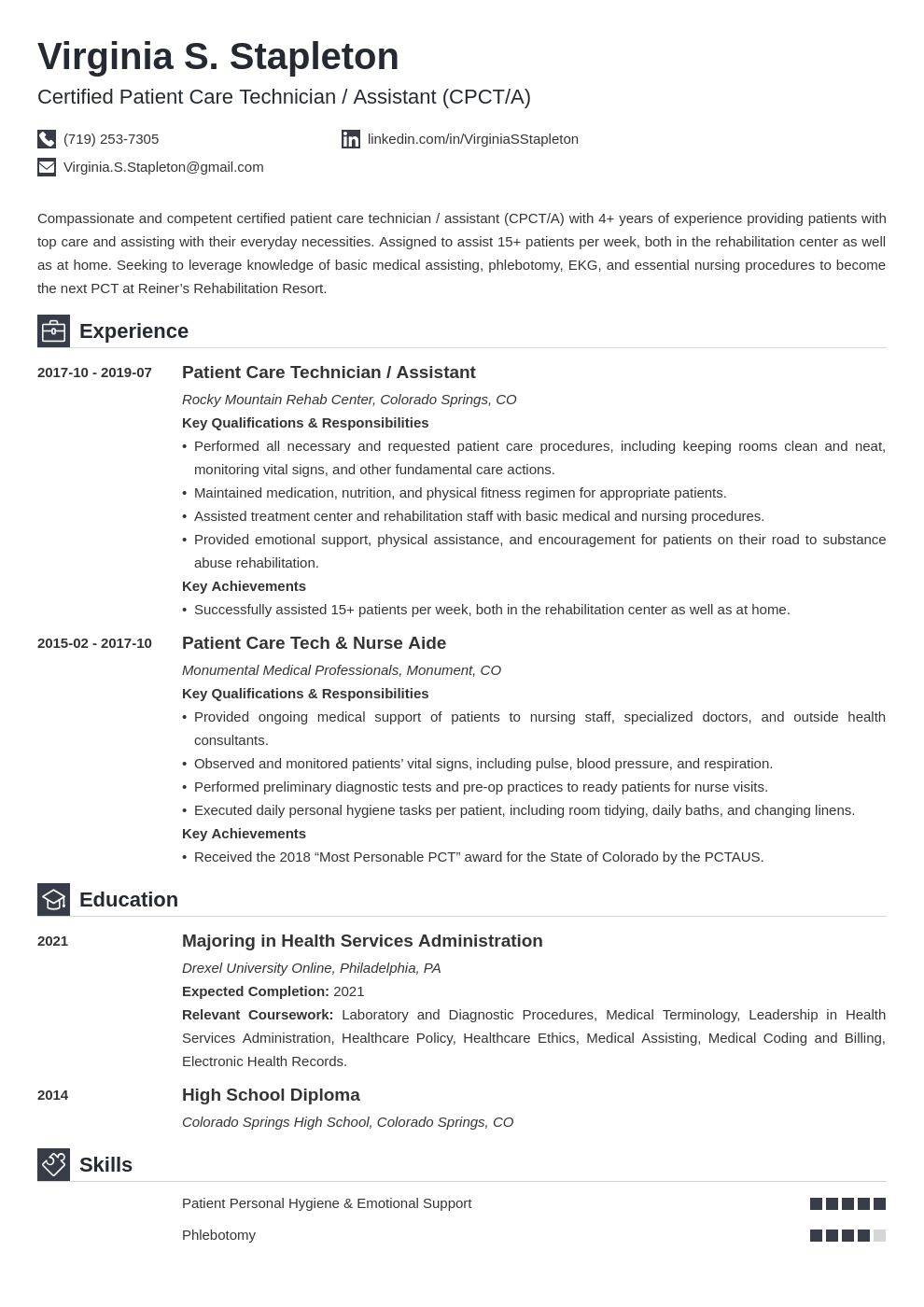 patient care technician resume example template iconic