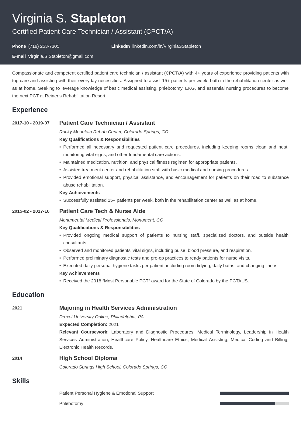 patient care technician resume example template influx
