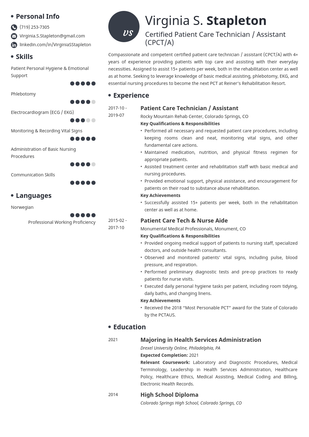 patient care technician resume example template initials