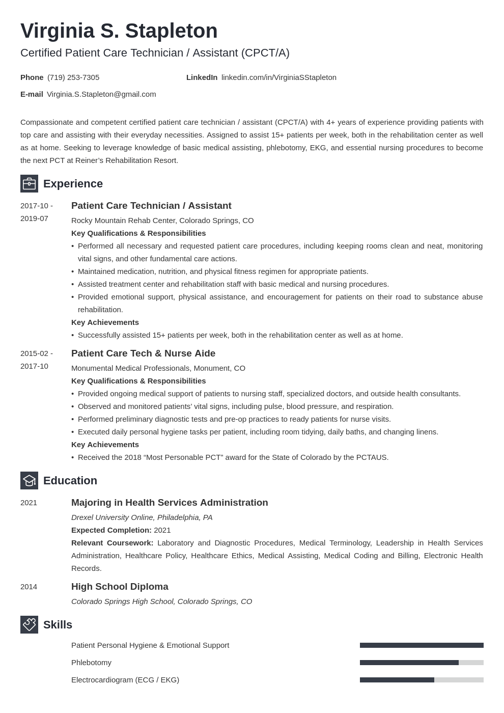 patient care technician resume example template newcast
