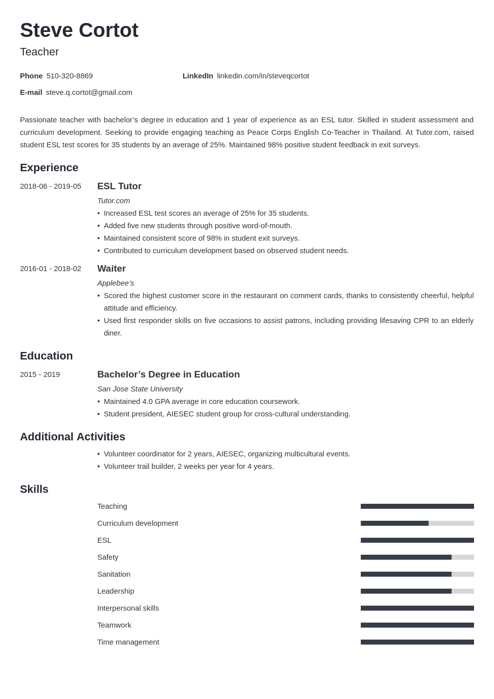 peace corps resume example template minimo