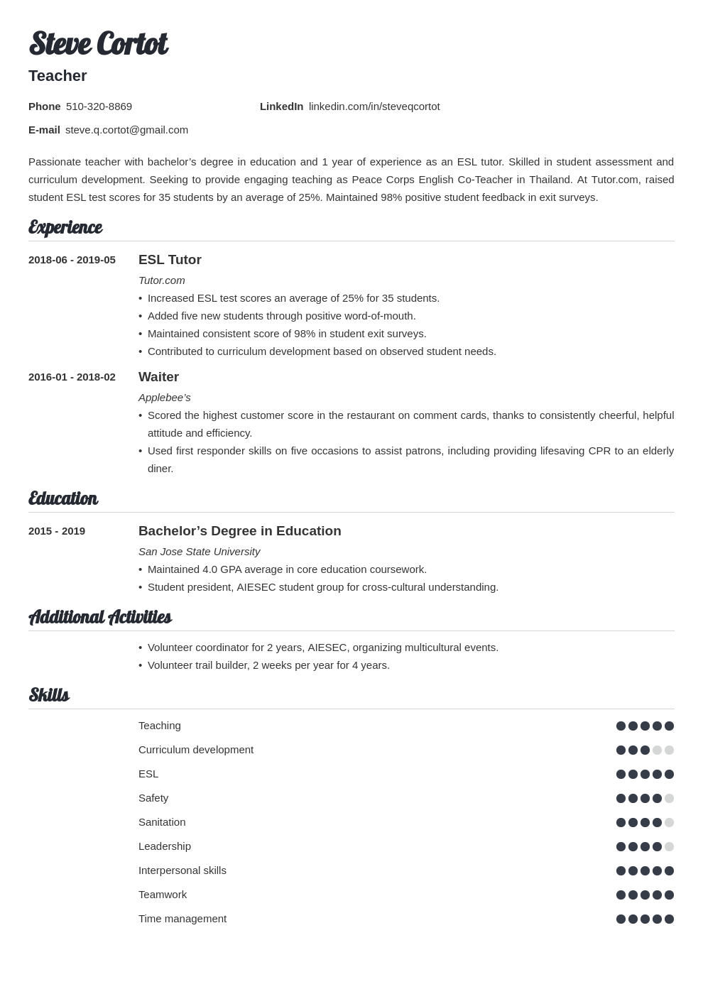 peace corps resume example template valera