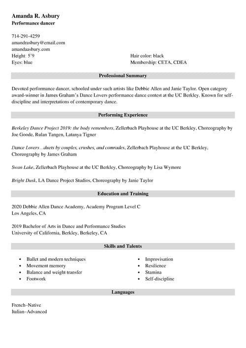 performing arts resume example