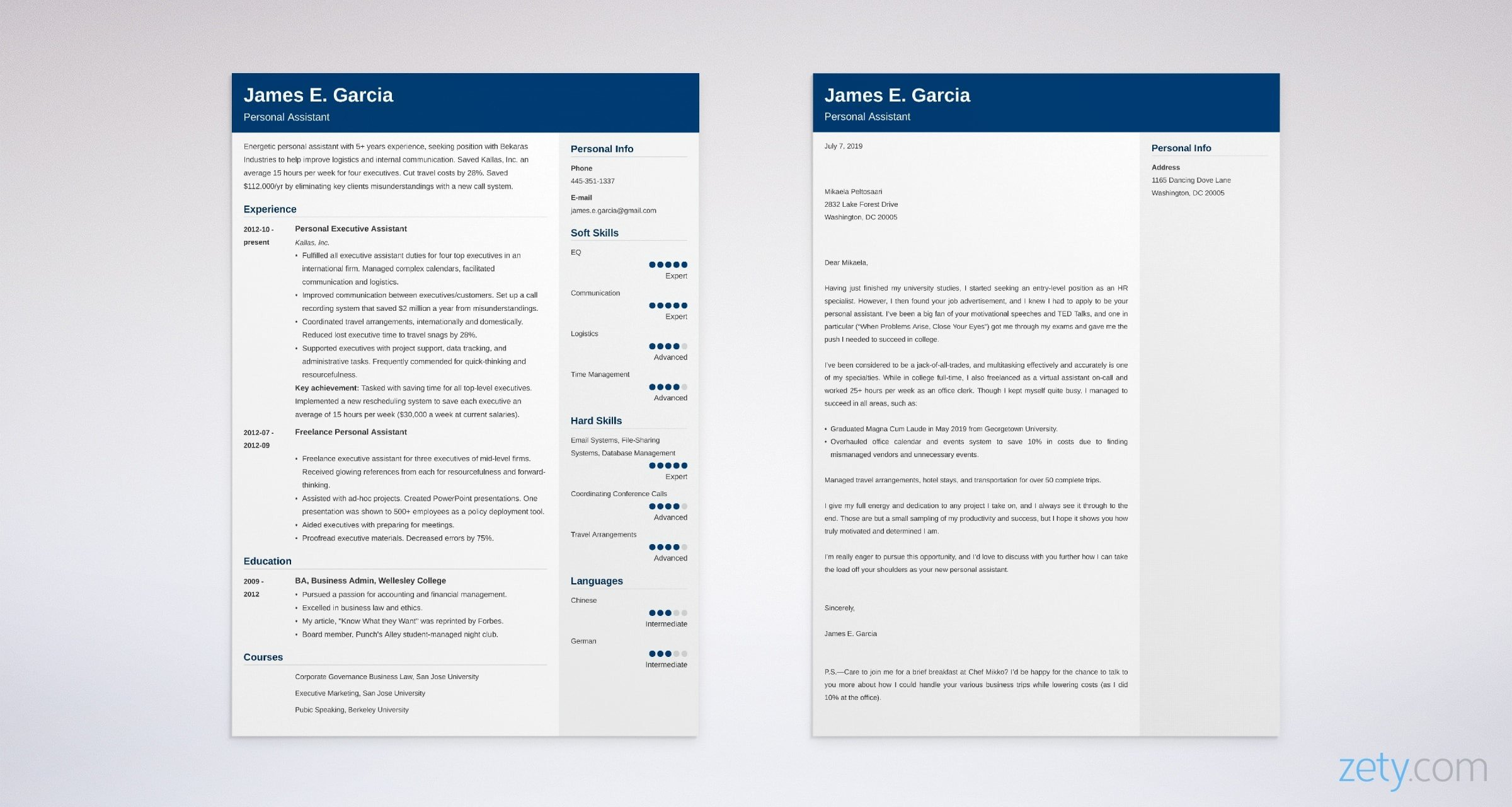 personal assistant resume and cover letter set