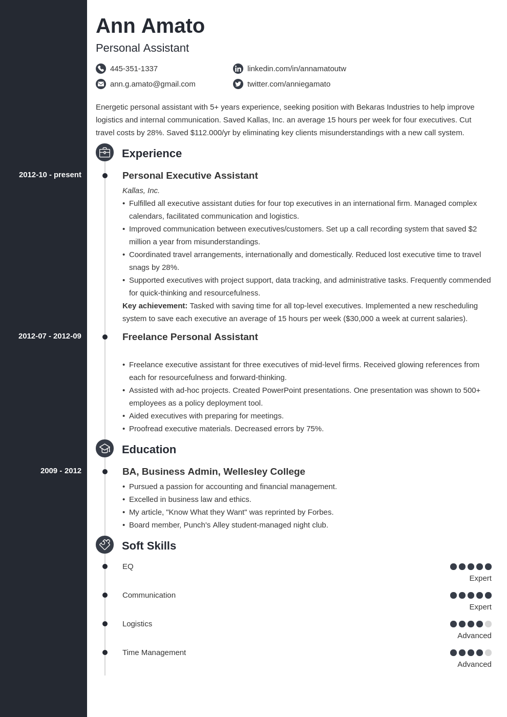 personal assistant resume example template concept