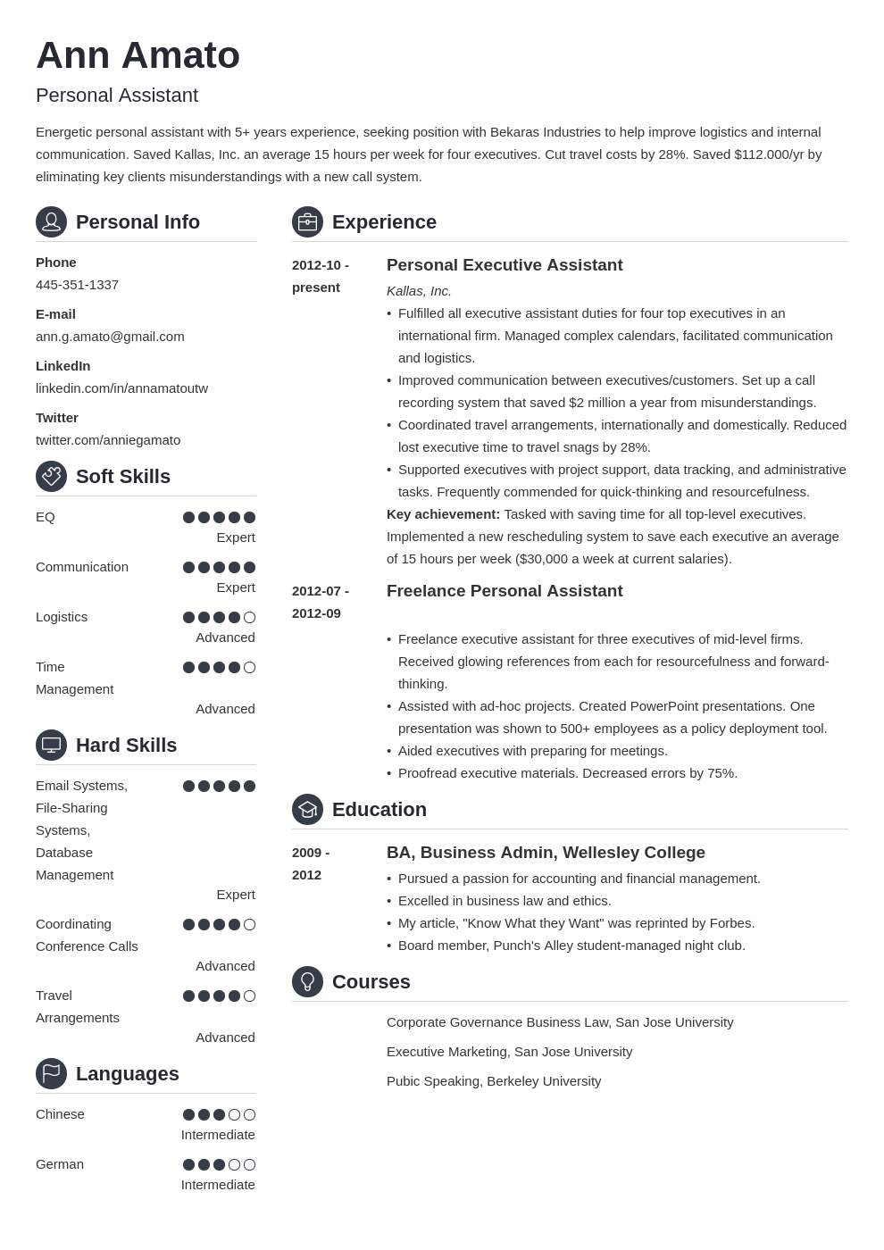 personal assistant resume example template crisp