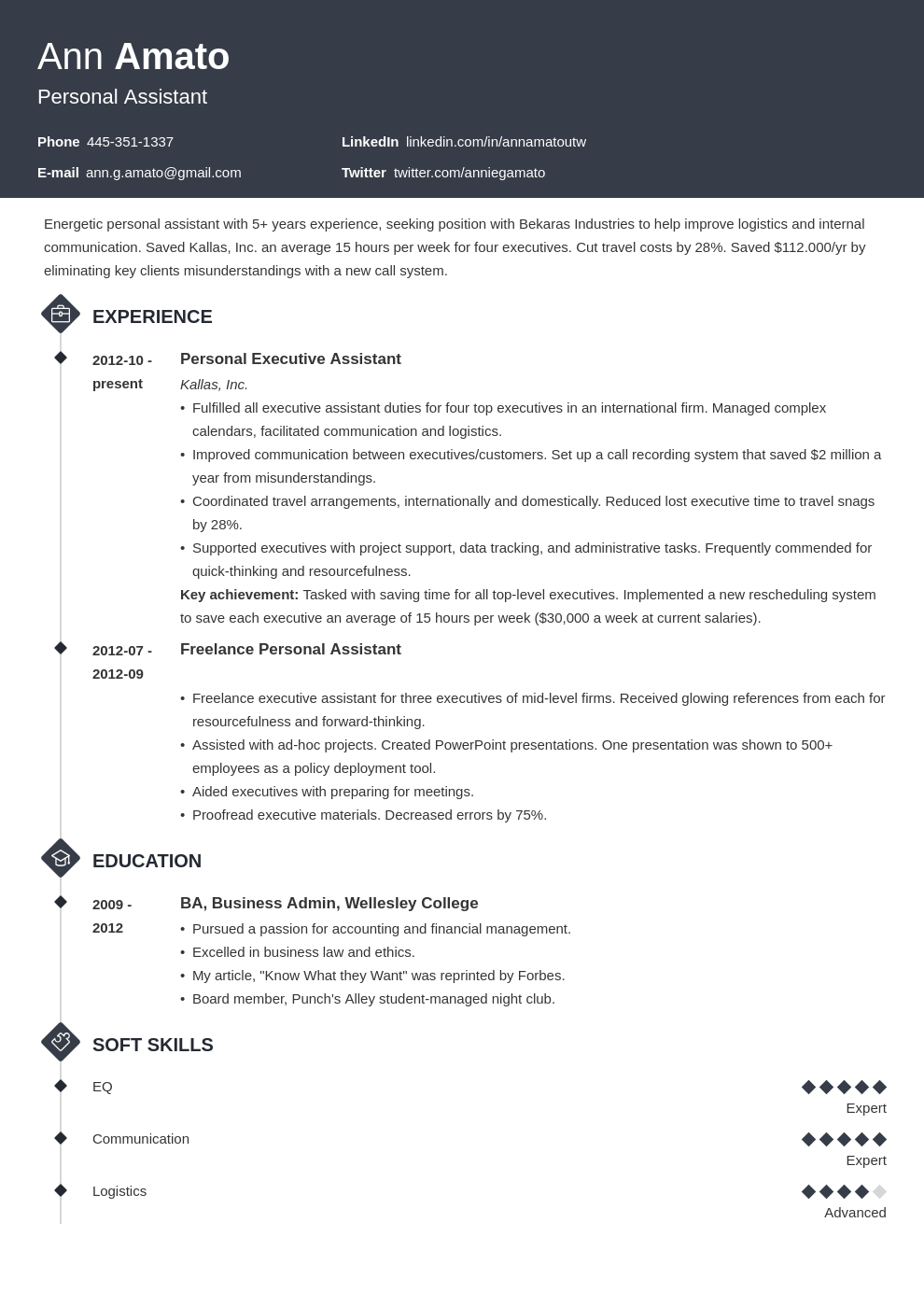 personal assistant resume example template diamond