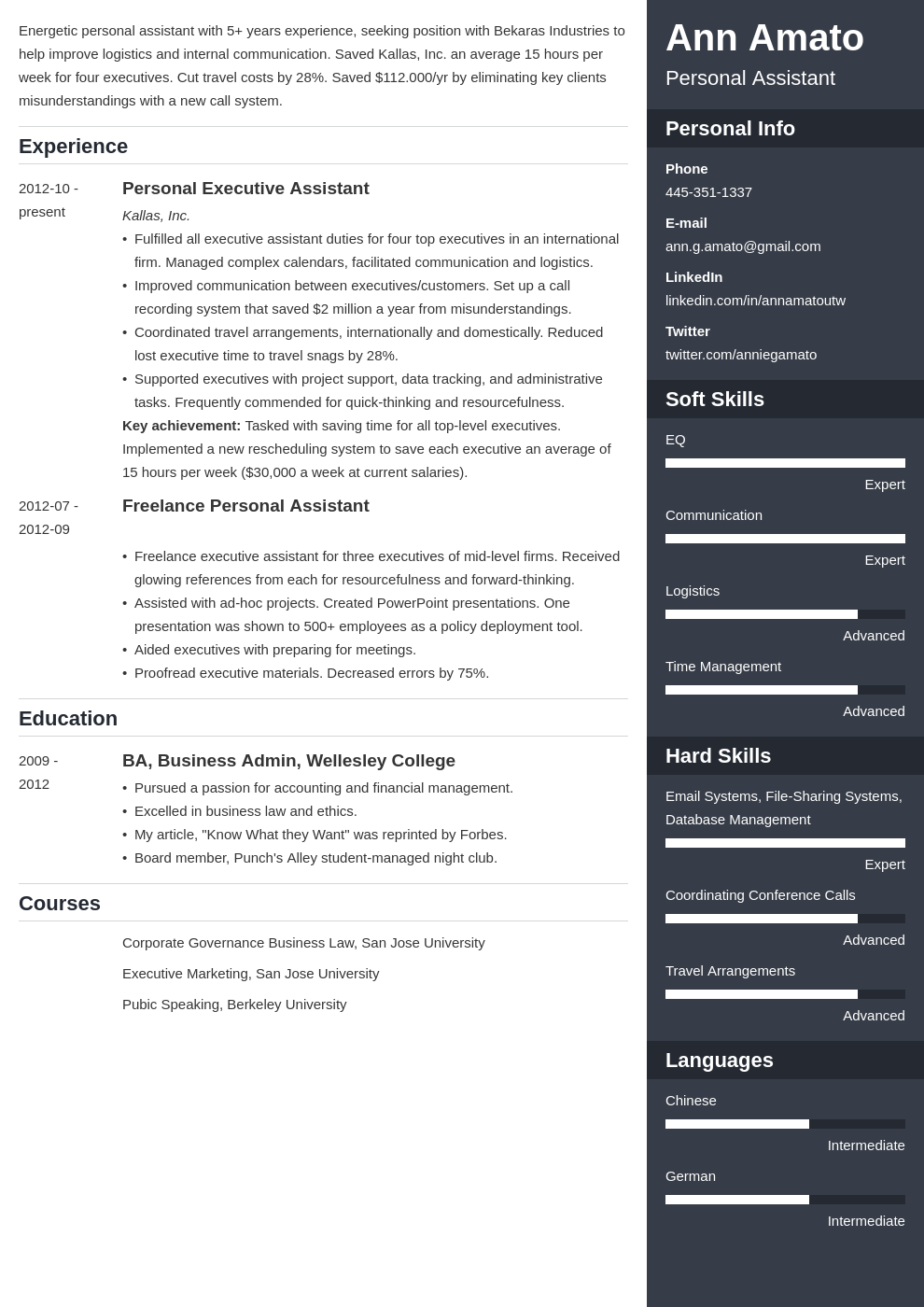 personal assistant resume example template enfold