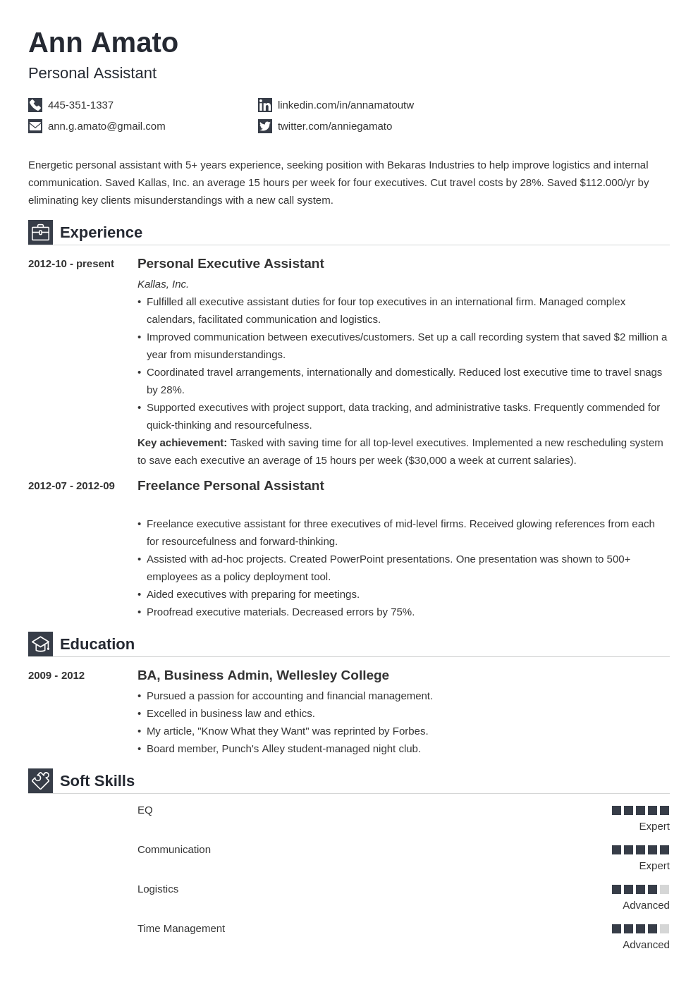 personal assistant resume example template iconic