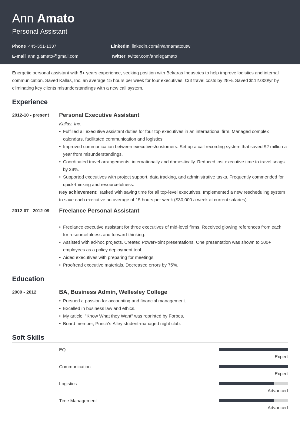 personal assistant resume example template influx
