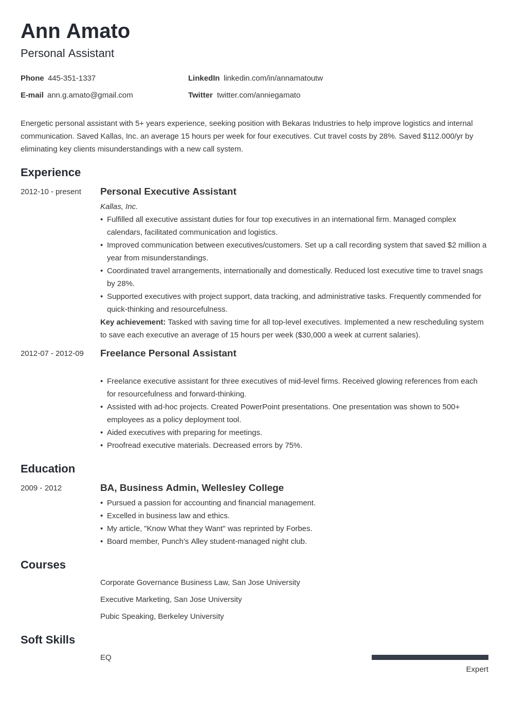 personal assistant resume example template minimo