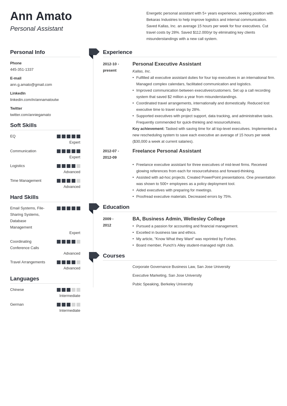 personal assistant resume example template muse
