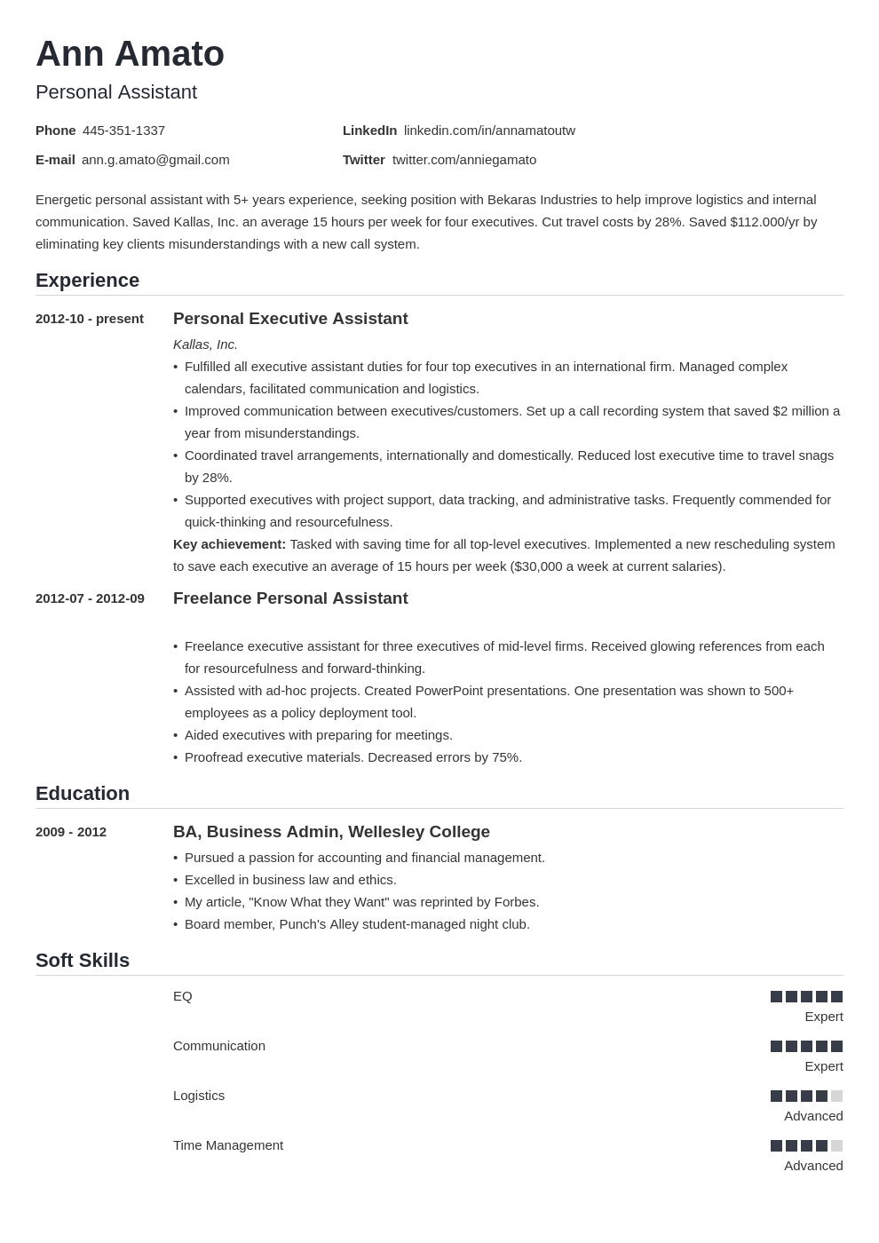 personal assistant resume example template nanica