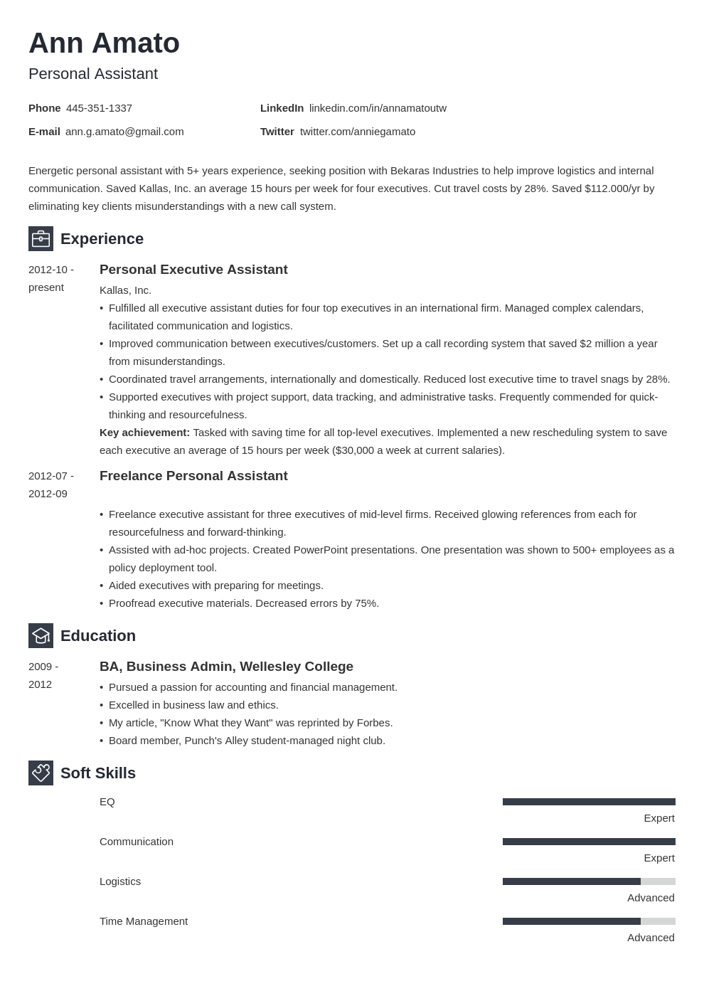 personal assistant resume example template newcast