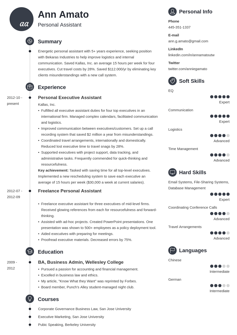 personal assistant resume example template primo