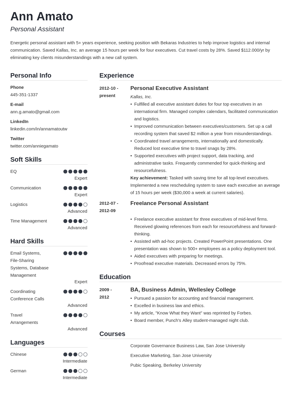 personal assistant resume example template simple
