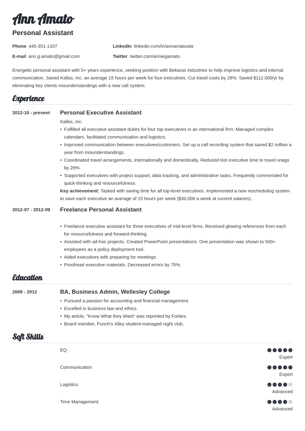 personal assistant resume example template valera