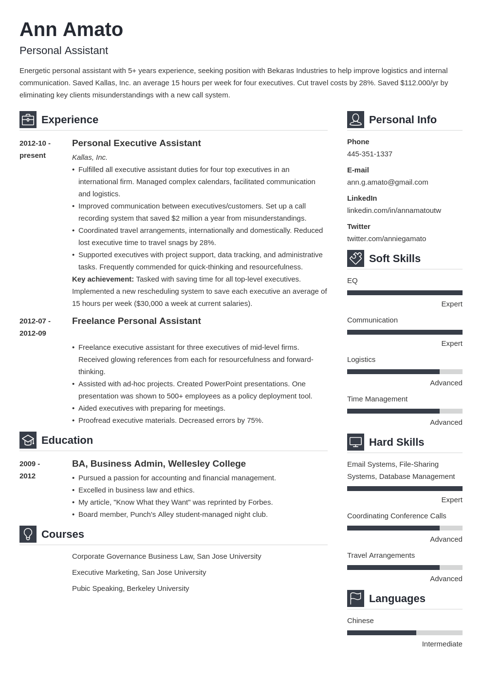 personal assistant resume example template vibes