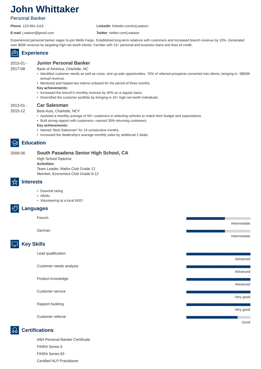 resume for personal banker