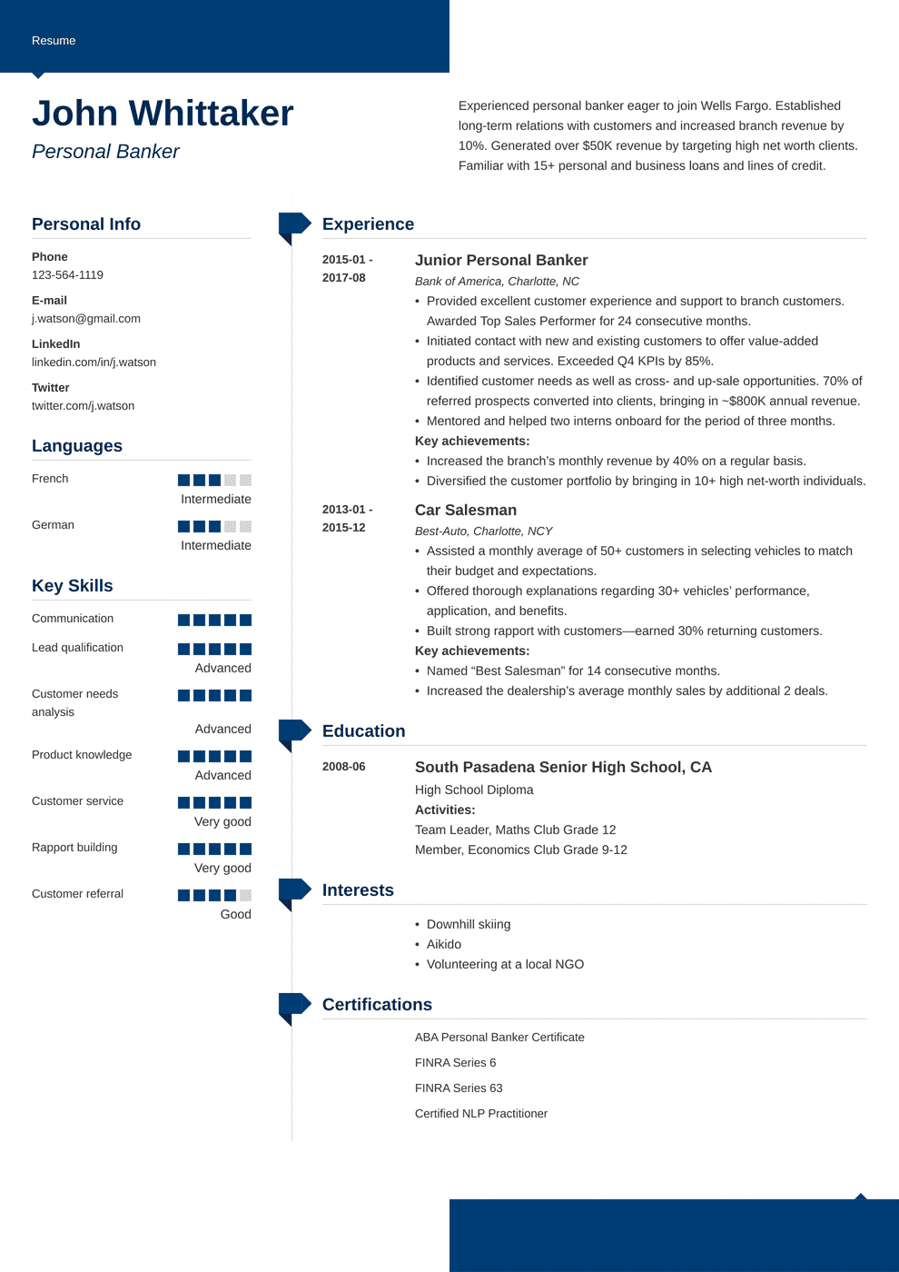 Personal Banker Resume: Sample and Writing Guide [20+ Examples]