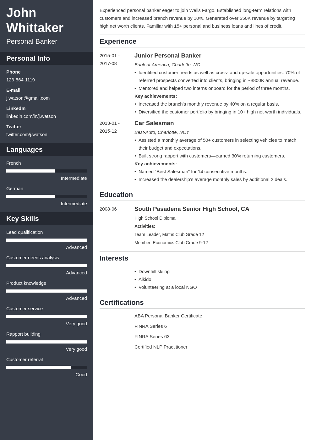 personal banker resume example template cascade