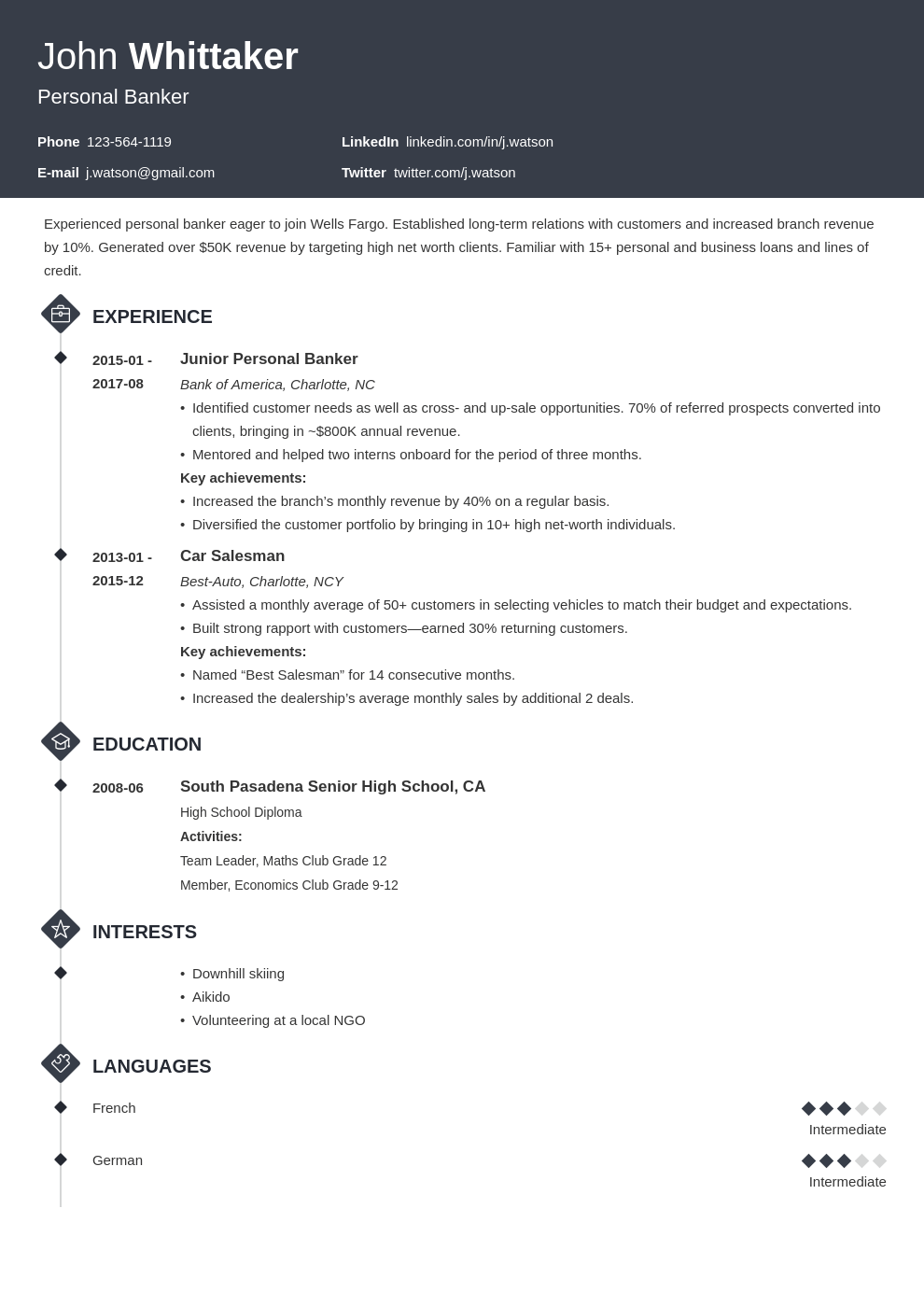 personal banker resume example template diamond