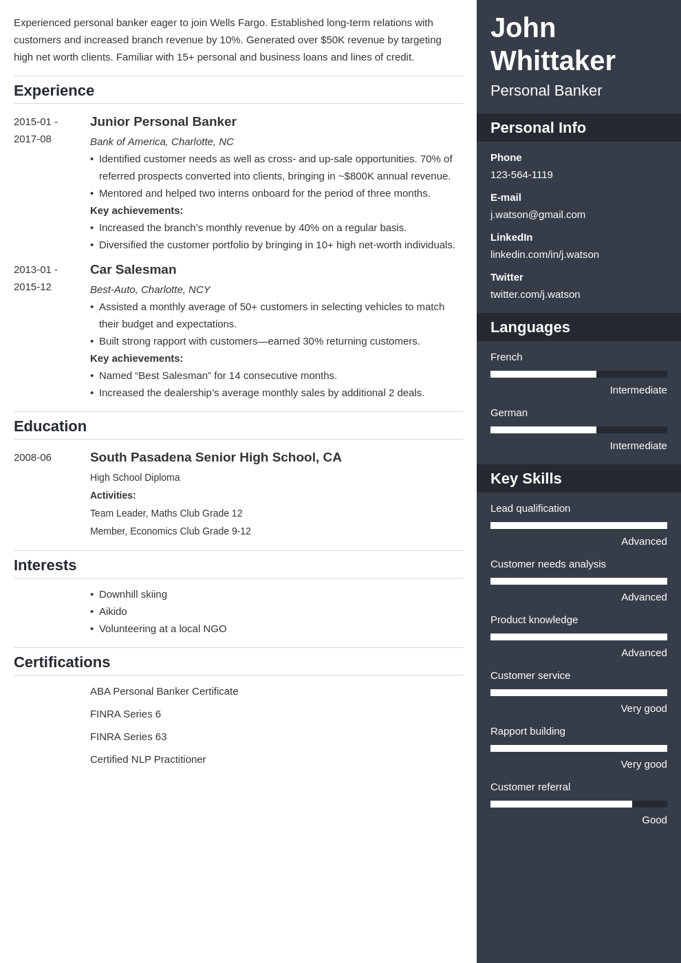 personal banker resume example template enfold