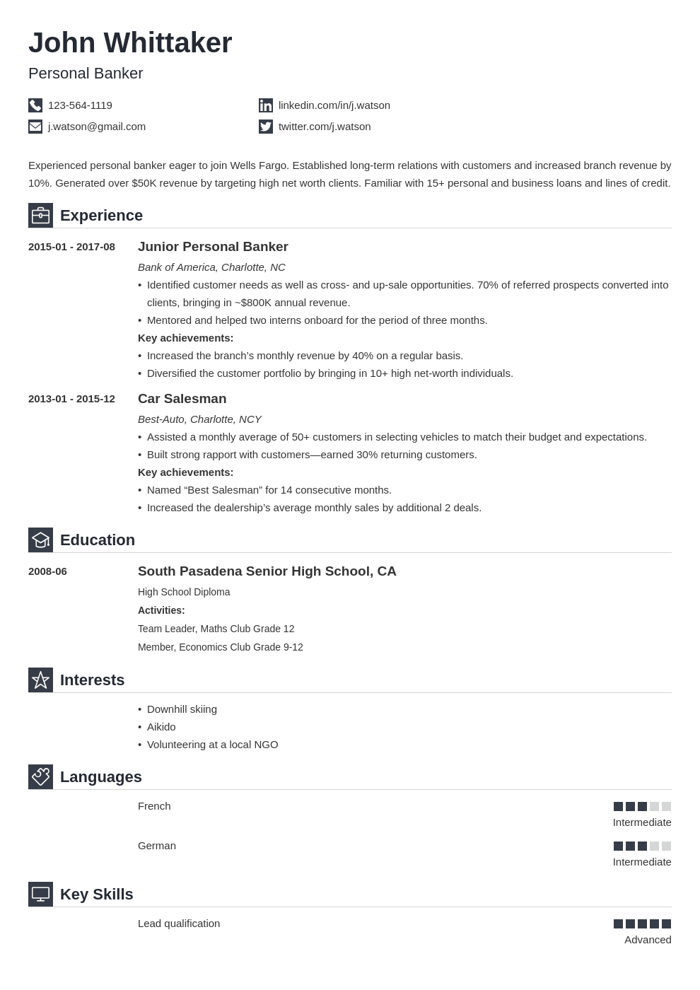 personal banker resume example template iconic