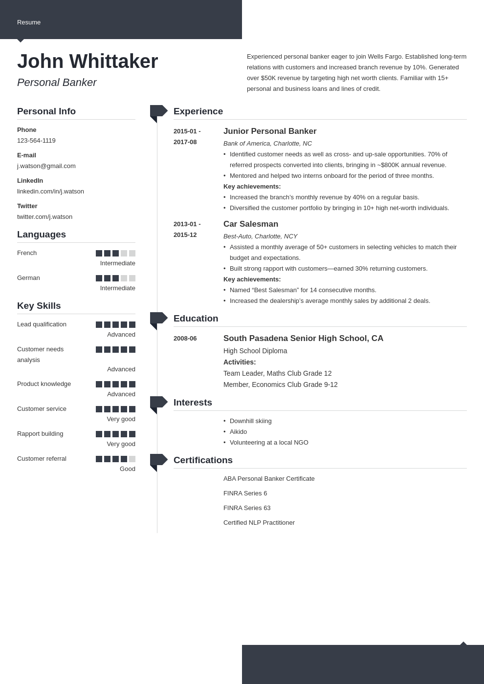 personal banker resume example template modern