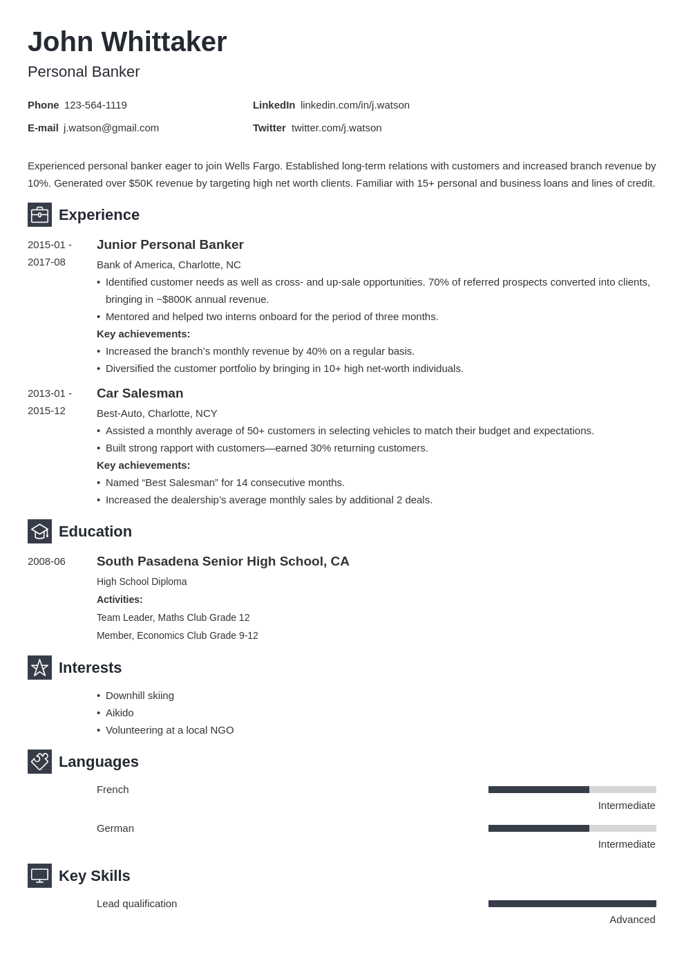personal banker resume example template newcast