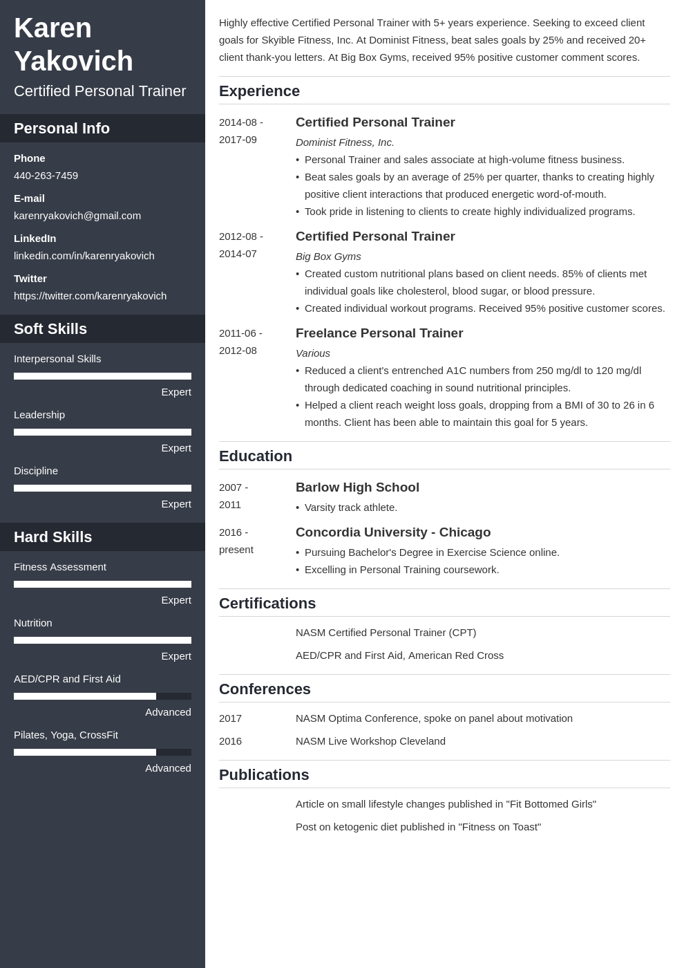 personal trainer resume example template cascade