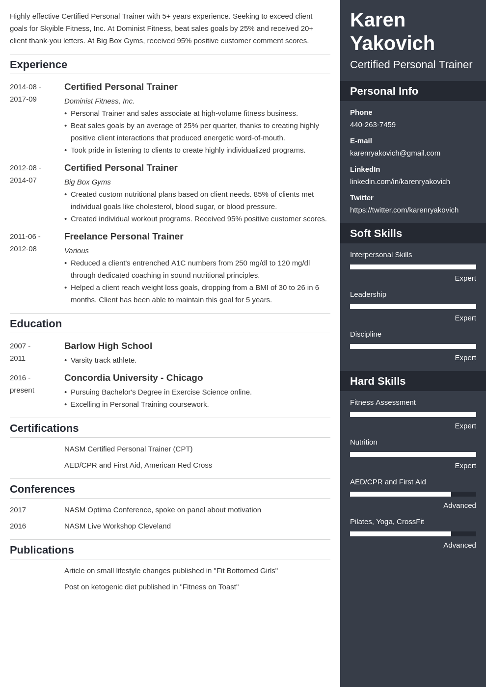 personal trainer resume example template enfold