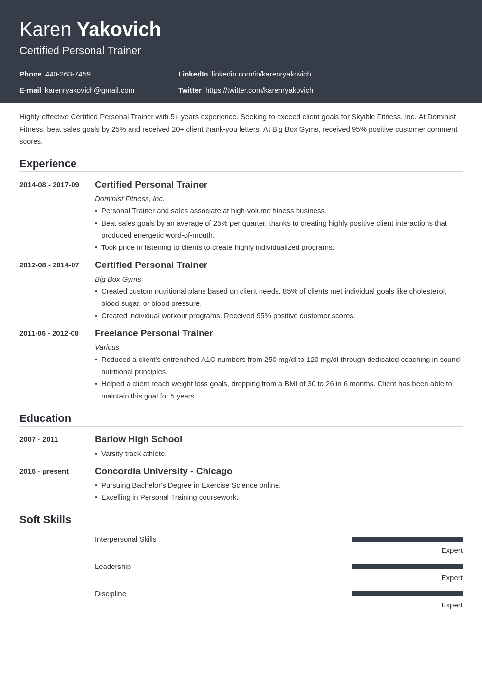 personal trainer resume example template influx