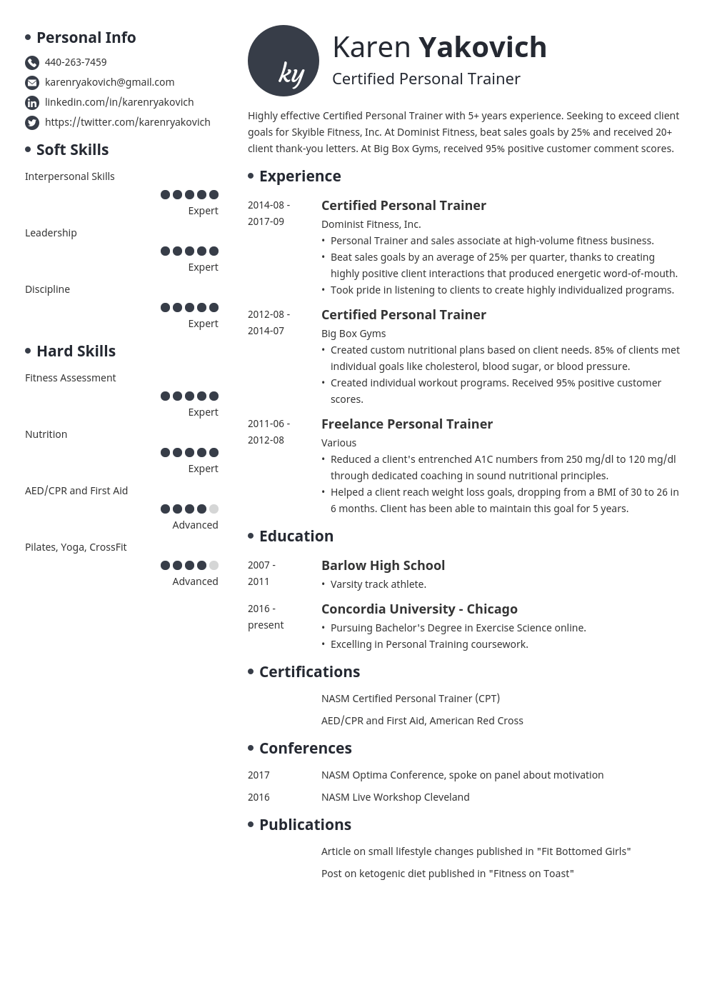 personal trainer resume example template initials