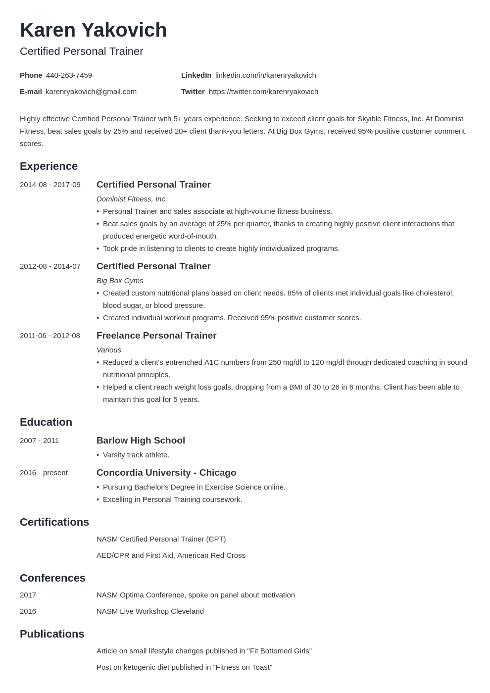 personal trainer resume example template minimo