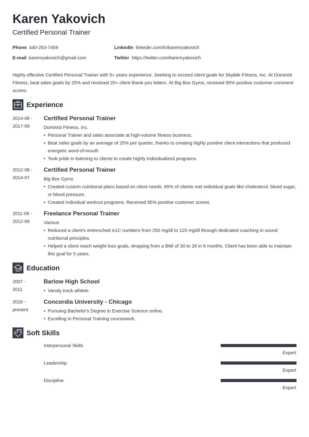 personal trainer resume example template newcast