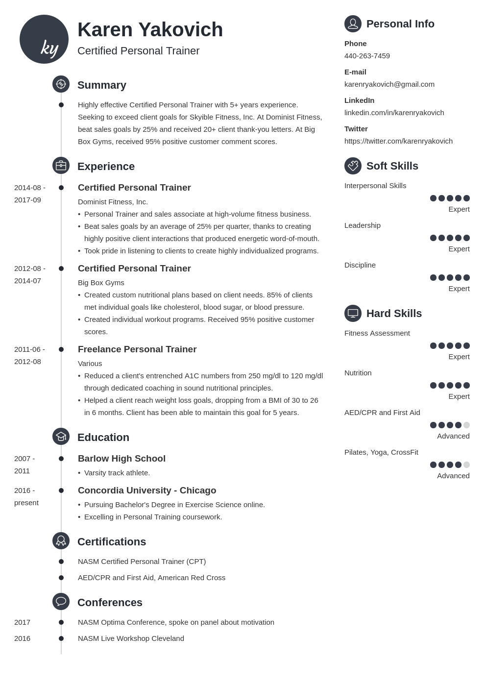 personal trainer resume example template primo