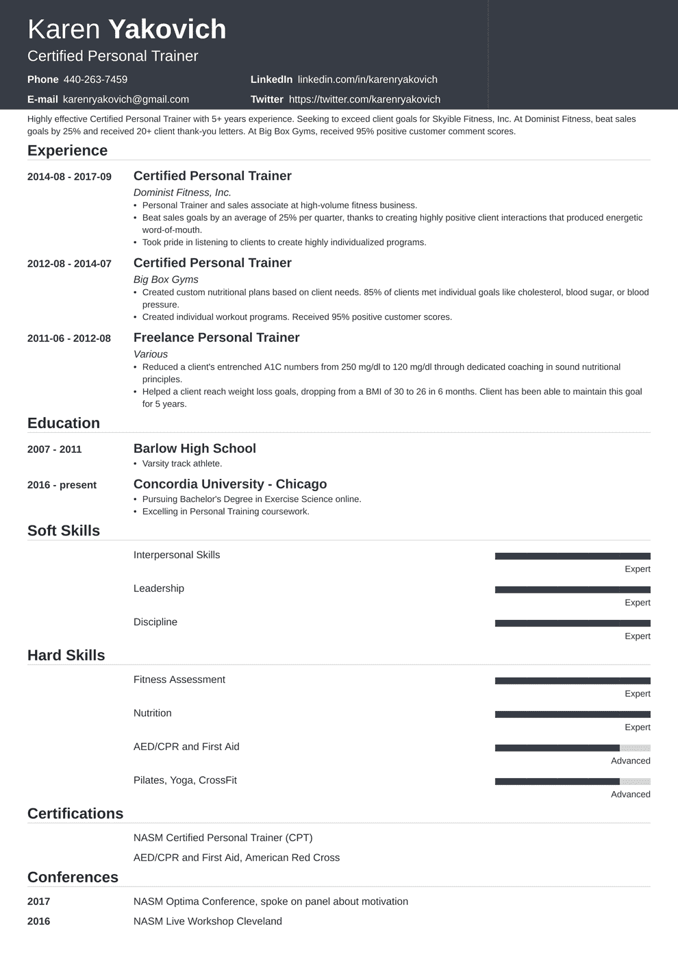Personal Trainer Resume Sample And Complete Guide 20