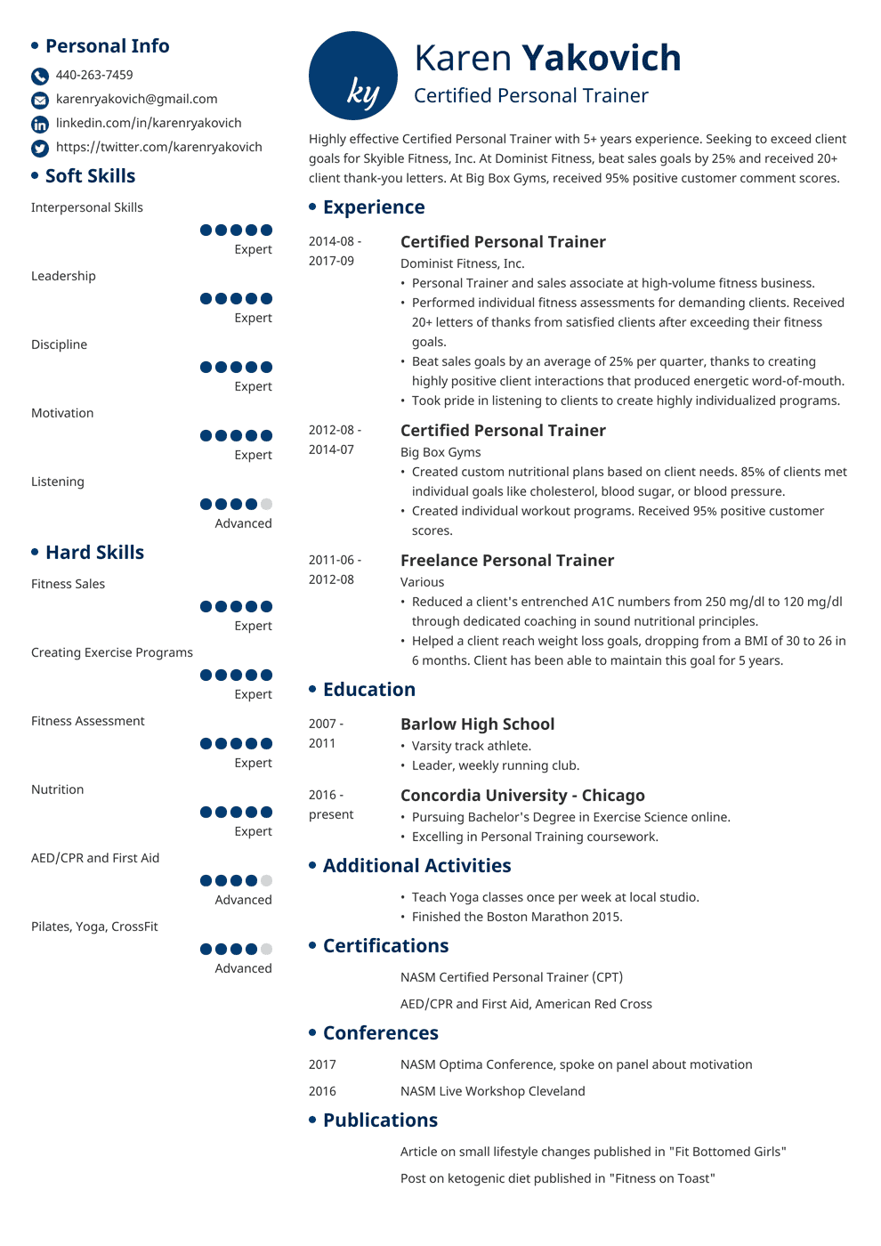 Personal Trainer Resume: Sample and Complete Guide [+20 ...