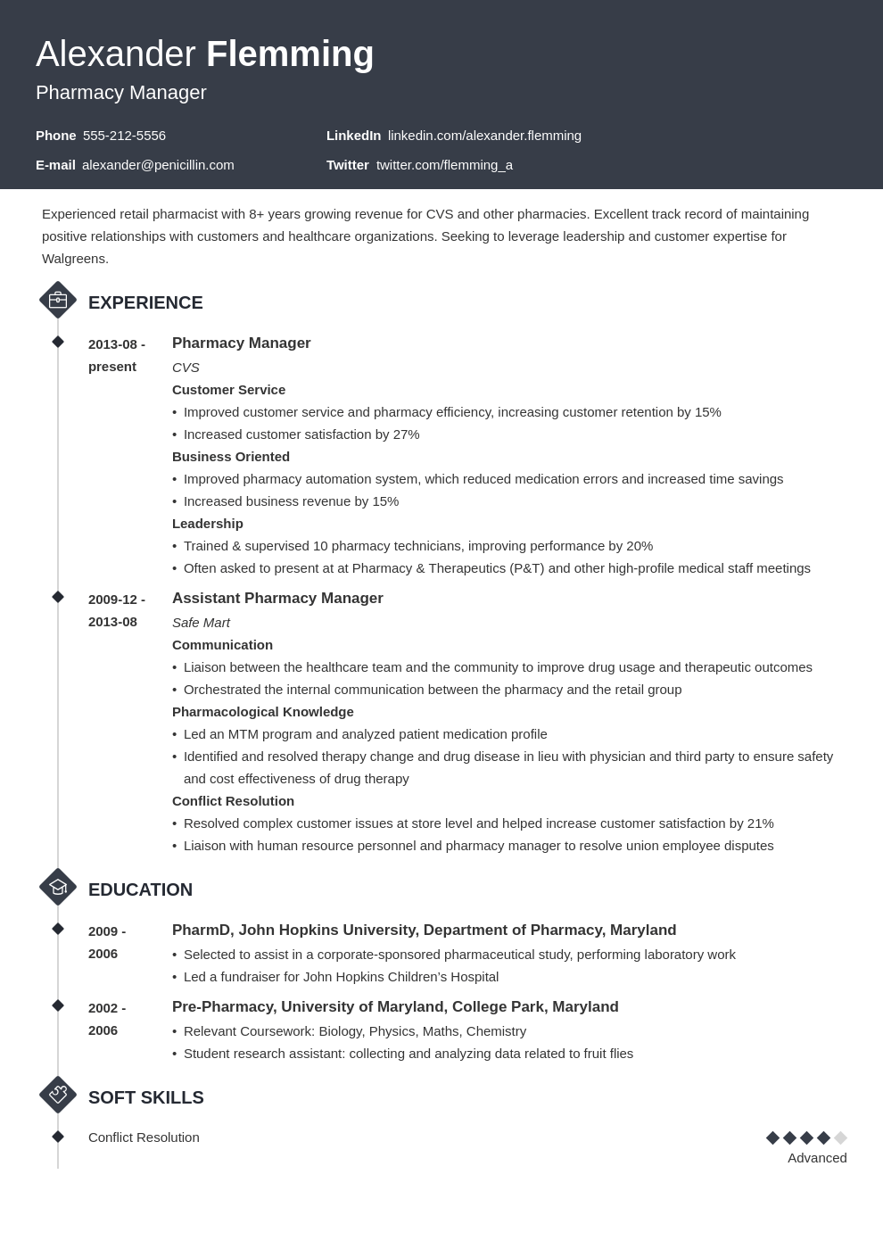 pharmacist resume example template diamond