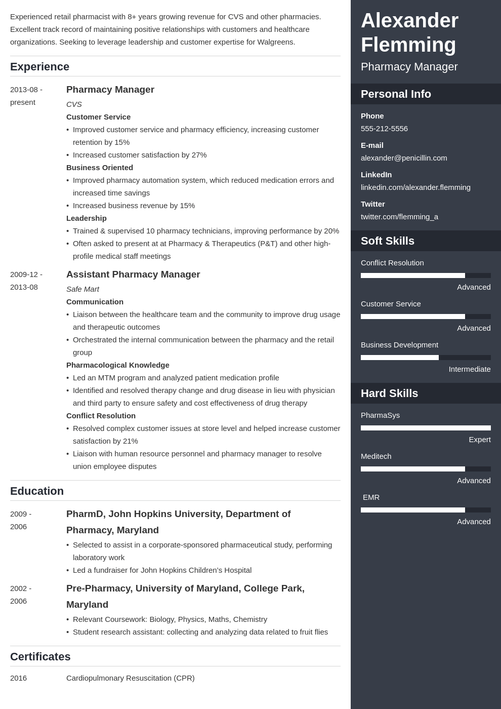 pharmacist resume example template enfold