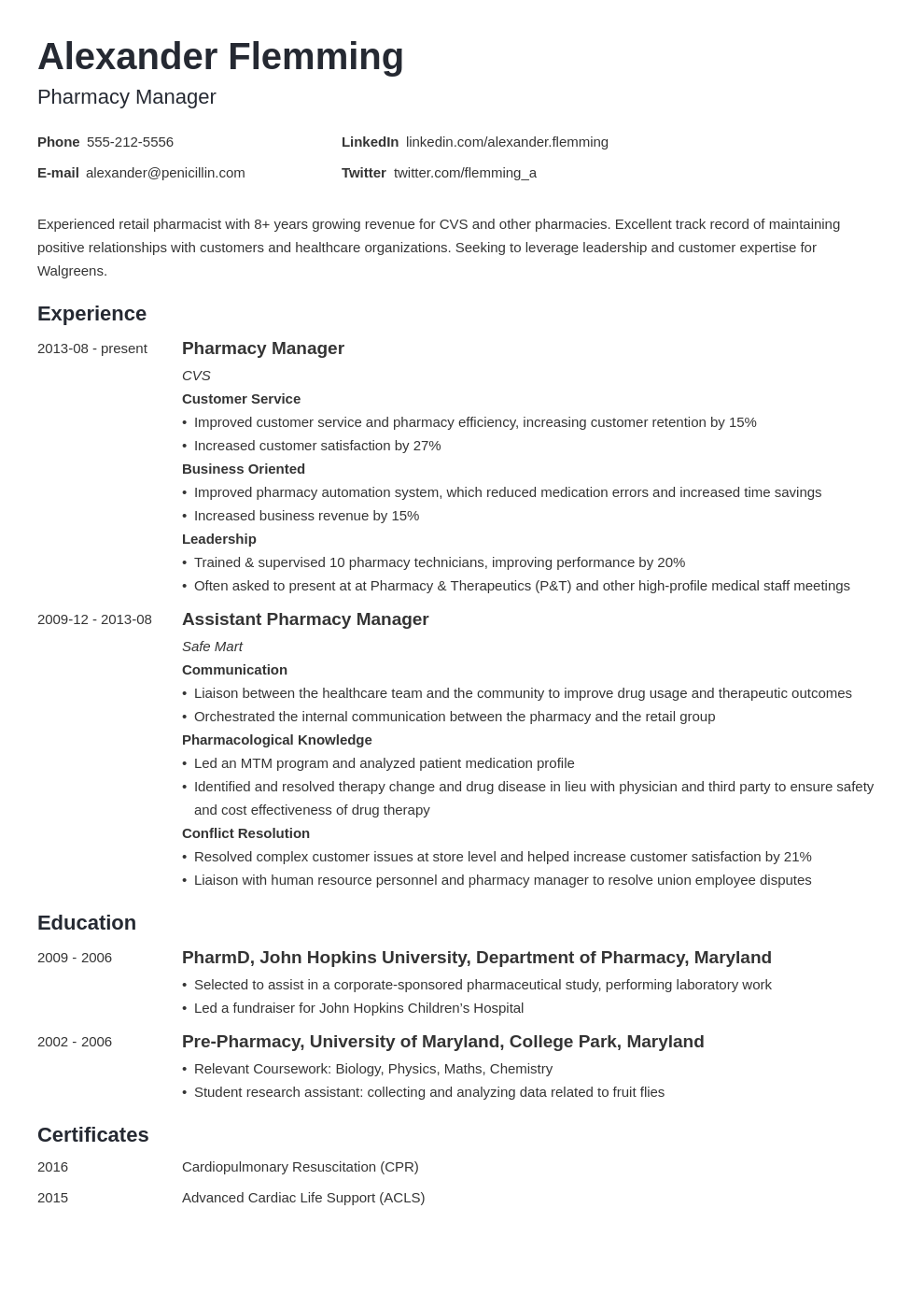 pharmacist resume example template minimo