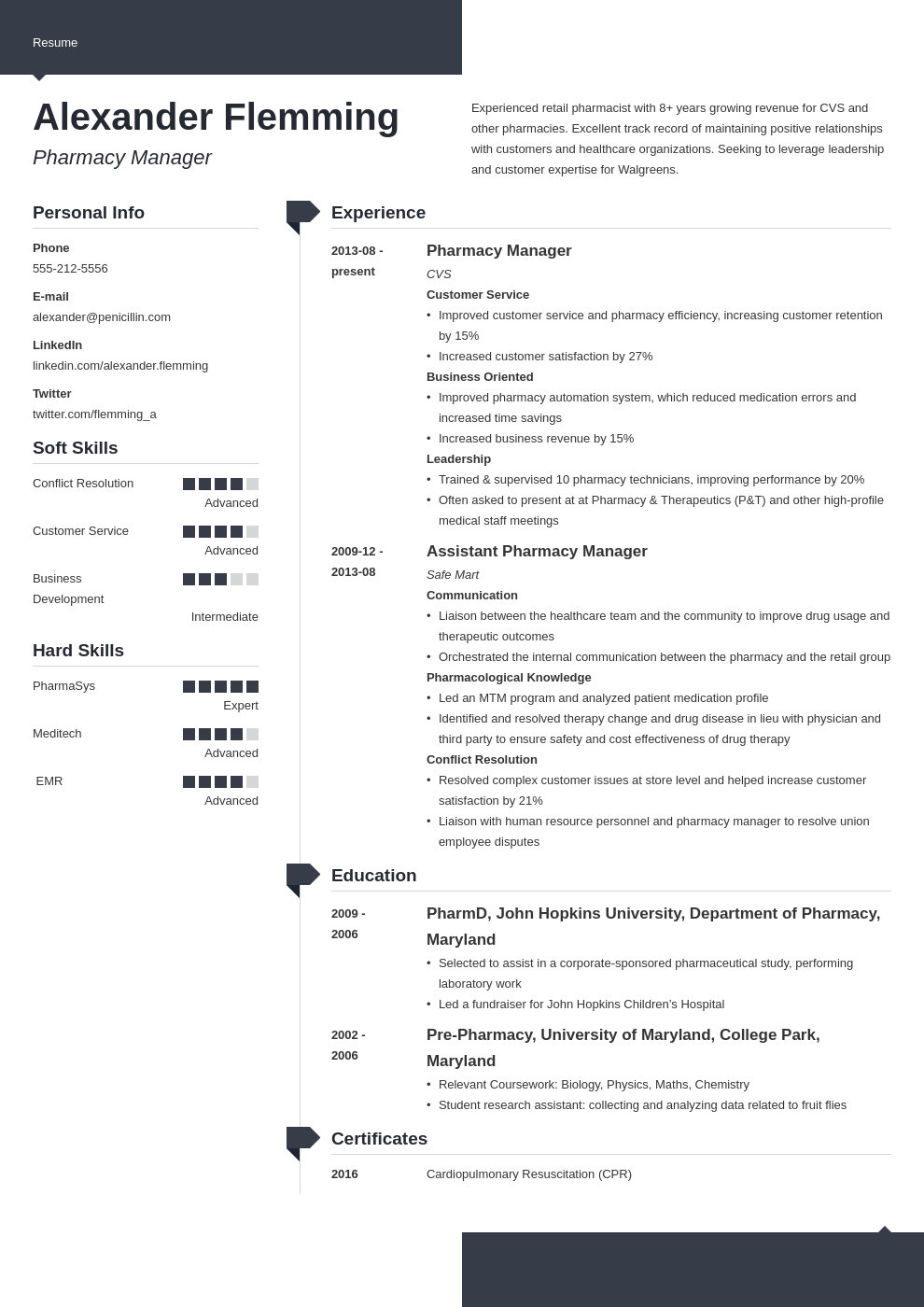 pharmacist resume example template modern